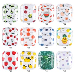 Earphone Protective Case For Apple Airpods 2 1 Fruit Pattern Transparent Hard PC Cover For AirPods Case Headset Case