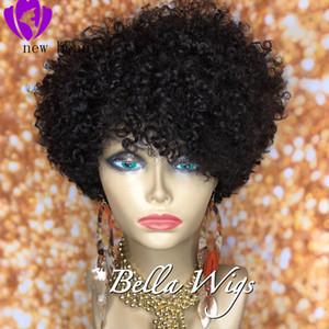 Courts Bouclés Cheveux perruques pour les femmes noires kinky devant dentelle sans colle brésilien bouclé perruque Remy cheveux naturels Couleur Livraison gratuite