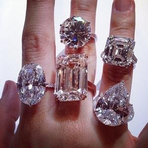Vecalon Lüks Kadın Promise Ring 925 ayar gümüş Büyük Sona 5A Cz Parti Düğün band yüzükler kadınlar için Gelin Takı Hediye