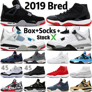 New 2019 Bred White Cement 4 4s What The Cactus Jack Cool Grey Mens Basketball Shoes 11 11s Concord 45 Pure Money Royalty Men Sport Sneakers