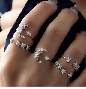 Wholesale Fashion Designer Crystal Infinite Knuckle Rings For Women Bohemian Moon Stars Pattern Rings Set 5pcs Wedding Party Jewelry
