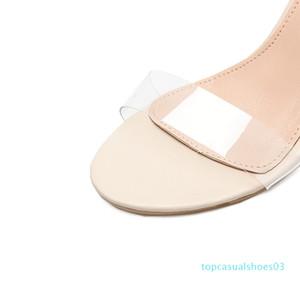 DiJiGirls yeni bayan sandalet bayanlar yüksek topuklu ayakkabılar kadın Crystal Clear Şeffaf gündelik takozları ayakkabı T03 pompalar gladyatör