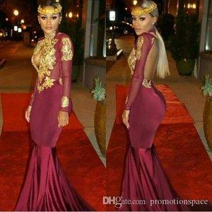 2020 por encargo del Sur de África y del oro de Borgoña vestidos de baile sirena atractiva de cuello alto Apliques Volantes gradas del vestido de noche