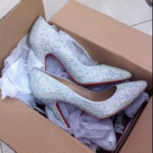 Sexy strass Escarpin Chaussure, Luxe Rouge Bas Pointy Pompes, Femmes Marque Rouge Sole Cristal Robe de mariée Chaussures talon 12-10-8cm 34-45 c16