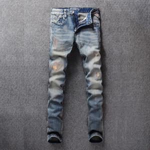 SHABIQI Джинсы мужские Классические мужские джинсы синий цвет хлопок Ripped Отверстие для мужчин Марка Дизайнер Байкер Жан Длинные брюки