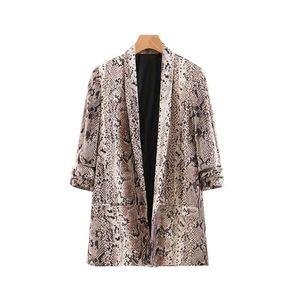 davidyue Animal imprimé serpent femmes blazers et vestes coréen blazer feminino mujer poches survêtement féminin top tops