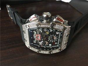새로운 도착 남자의 스포츠 시계의 최고 품질 남성 다이얼 다이아몬드는 검은 색 고무 스트랩 020 베젤 해골 기계식 손목 시계 시계