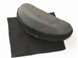 Nueva marca Upgrade EVA Zipper Sunglasses Gafas de sol y tela Caja de gafas de compresión de alta calidad Negro MOQ = paquete de 10 piezas