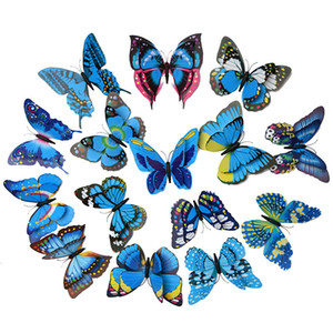 12pcs lot Blue Butterfly Fridge Magnets 3D Butterfly Design Art Stickers Room Home Decor DIY Wall Decoration