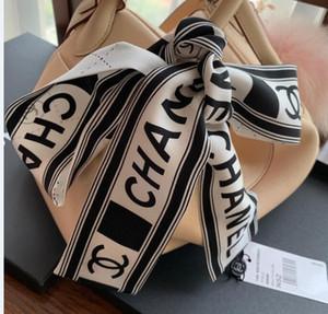 2020 Novo designer de seda Handbag longo xale por Mulheres Alta Qualidade Itália Marca lenços de seda pequenos lenços para Bag lenço