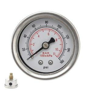 자동차 범용 연료 압력 게이지 0-160 PSI 액체 충전 크롬 1/8 NPT