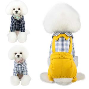 Trsnser Trajes de trabajo para perros de algodón perro pequeño mono del babero para mascotas Disfraces Pantalones ropa chaqueta de la ropa de dibujos animados pijamas 19Mer25 P35