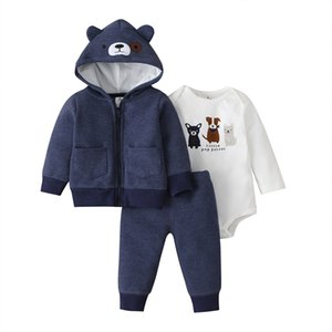 baby boy clothes hooded coat+romper+pants cartoon dog 2020 spring fall outfit new born long sleeve set newborn infant clothing T200706
