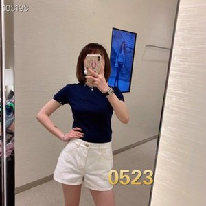 Quality new ladies Xiaoxiang embroidery round neck short-sleeved wool sweater fashion trend female 023