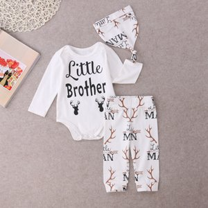 2019 Newborn Baby Boys Xmas Gift Clothes Romper Top Little Brother Long Deer Pants Hat 3PCS Outfits Cute White Set SS