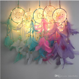 Dream Catcher Feather With String Light Hand Made Dreamcatcher Decoration Home Bedside Wall Hanging Decorations Birthday Party Gifts LTYP42