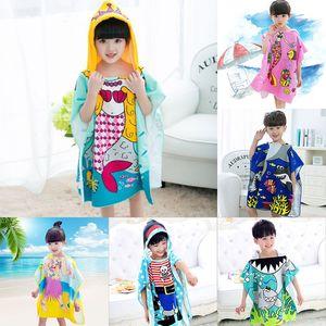 2020 19 styles Mermaid bathrobe Kids Robes cartoon animal shark Nightgown Children Towels Hooded bathrobes C2508