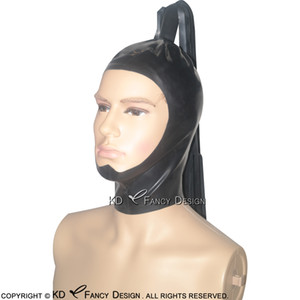 Black Sexy Latex Hoods With Ponytail Zipper Back Open Face Pony Tail Tube Rubber Masks TT-0012