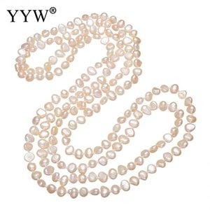 YYW Großhandel Natürlicher Pink Pearl wulstige langer Strand 3-Zeilen Multi Layer Halskette Süßwasser-Zuchtperlen-Strickjacke-Kette Halskette Frau