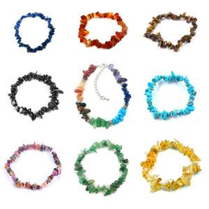 JLN Chip Stone Crystal Bracelet Seven Chakra Irregular Chip Quartz Stone Garnet Tourmaline Bracelet For Women Girls