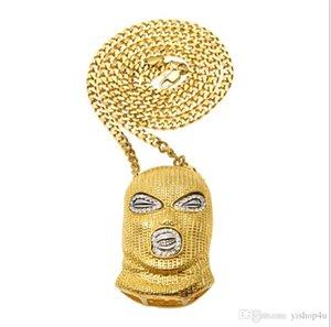 Hommes Style Punk 18K en alliage d'or d'argent PlaMask Head Charm Pendant Hip Hop CSGO Pendentif Collier chaîne cubaine