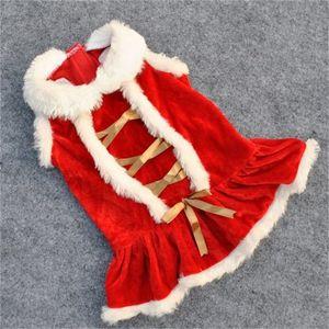Pet Dog Dress Red Color Keep Warm Cat Puppy Рождественский костюм Зимние животные Одежда с золотой цветной лентой 8ye E1
