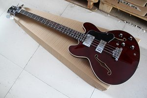 Новые 4-струнные Полужесткая Красно-коричневая Электрическая Бас-Гитара с Черной Накладкой, Хромированная фурнитура, накладка из палисандра, предлагаем индивидуальную настройку