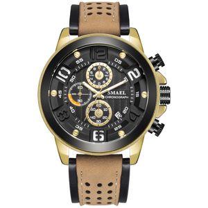 Sport Mens Watches Luxury Alloy Watch Men Casual SL-9083 Fashion Leather Waterproof wristWatch box Relogio Masculino