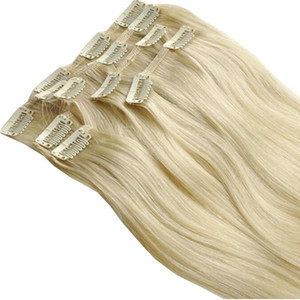 "cheveux remy indiens Clip Extension de cheveux humains 14 ""-24"" 7pcs ensemble 70g Platinum Blonde Couleur 60 #"