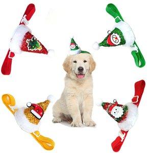 Nuovo animale domestico del cane gatto sveglio di Natale Cappello paillettes Headwear Christmas Party Cap copricapo Con costume cosplay regolabile Strap Dog