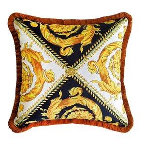 50CM Baroque Pillow Case Luxury Designer Medusa Velvet Thicken Tassel Decorative Throw Pillows Royal Cushions Home Hotel Interiors