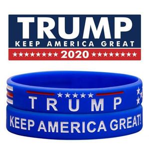 Trump 2020 Eleição Pulseira Donald Trump MANTER AMERICA GRANDE Silicone Pulseira Pulseiras Vermelho Azul Trump Suportes Pulseiras