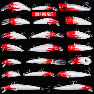 20pcs New Hard Plastic Big Minnow Lure 3D Eyes Crankbait Wobbler Artificial Bait Popper Fishing Tackle Crankbait lure bait Set