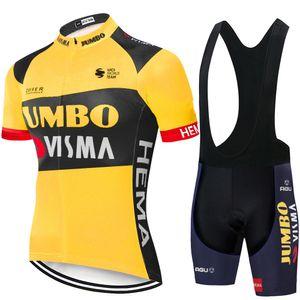 Bisiklet Jersey Seti 2020 Pro Takım Jumbo Visma Bisiklet Giyim Yaz MTB bisiklet Jersey önlük şort kiti Ropa Ciclismo