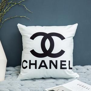 45 * 45 cm 5 pedazos / letras inglesas mucho nórdica funda de almohada blanco y negro del enrejado geométrico rayado simple sofá funda de almohada (sin almohada)