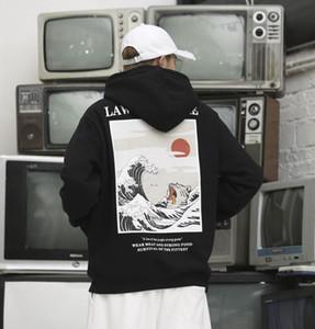 Septhydrogen Марка Мода японская вышивка Смешные Cat Wave Printed руно Толстовки Япония Стиль Hip Hop Повседневный фуфаек Streetwear