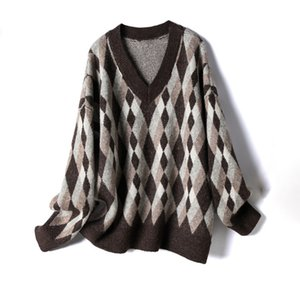 2020 New Loose Casual Knitted Sweater Women Winter Sweater Tops V neck Retro Pullover Jumpers