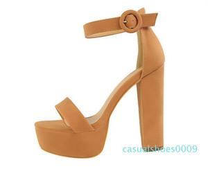 Designer Summer model women high heel Sandals 13 cm open toes chunky heel platform Sandals Buckle Strap lady Automobile model Shoes c09