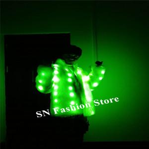 M93 Ballroom Dance führte Kostüme DJ trägt leuchtenden grünen Pelzmantel Partei trägt Outfits Roboter Anzug Bar kleiden Kleid durchführen Show ds Kostüm DJ