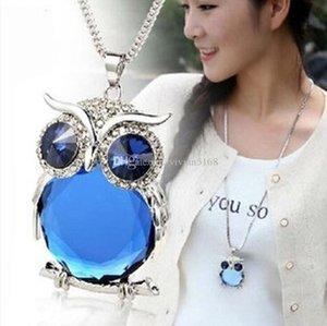 Nouveau style femmes Collier pendentif chouette strass Pull chaîne Sautoirs Bijoux ornements exquis couple Trinket 5 couleurs
