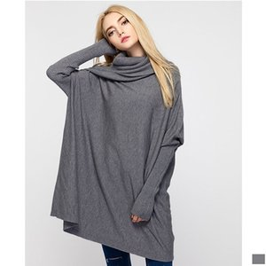 Women Sweater Over Size Long Sleeve Batwing Sleeve Casual Jersey Loose Long Sweater Turn-down Collar Ladies