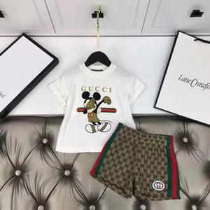 NOVO Sport Roupa para meninas Define Crianças marca de vestuário de Verão estudantes de moda xadrez + calças 2Pcs terno bebê crianças roupa