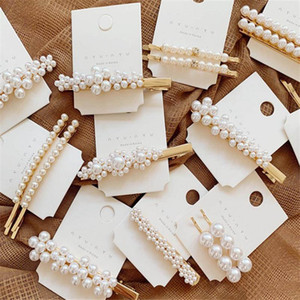 New Bohemian Gold Alloy Hairclips For Women Girls Fashion Pearl Wedding Hair Clip Barrette Bobby Pin Hair Jewelry Accessory