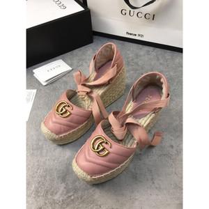 Top moda mujer zapatos pescador baotou sandalias de plataforma transpirable zapatos de las mujeres de peso ligero de tejido guita lazo cruzado cordones de zapatos pescador