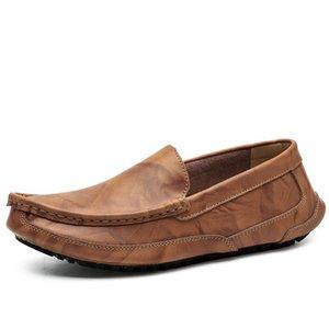 Couro genuíno masculino Loafers Moda suave Boat Shoes Shoes Men Mocassins condução Homens pôs os pés preguiçosos Masculino calçado HC-574