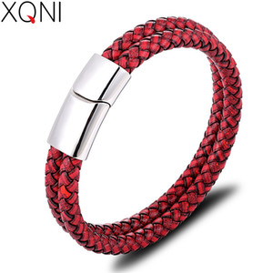 XQNI Geometric Pattern Woven Men's Leather Bracelet Stainless Steel Simple Button Suitable For Boys And Girls Commemorative Gift