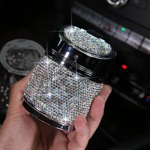 Neue Diamant-Auto-Aschenbecher Multi-Purpose Universal-One-Touch-Schalter Auto-Metall-Aschenbecher Zubehör easu zu reinigen