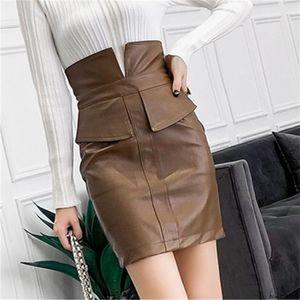 Pelle nvyou gou PU Black Women Gonna Autunno Inverno Gonna a vita alta aderente sexy mini gonna Streetwear Office Lady Casual Wear CJ200326