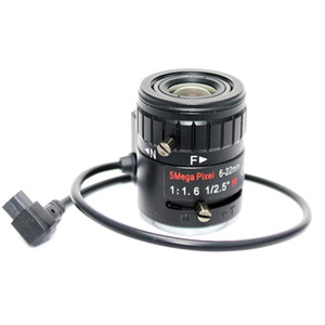 "5MP 1 / 2.5"" 6-22mm Manual de IR F1,6 DC varifocal de iris automático CCTV lente montura CS Para todas las cámaras IP Megapixel HD analógico"