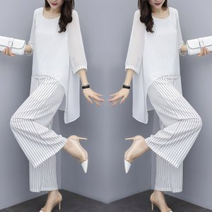 Chiffon Pantsuits Women Pant Suits For Mother of the Bride Outfit 2019 Formal Wedding Guest Striped Wide Leg Loose 3 Piece Sets T200702